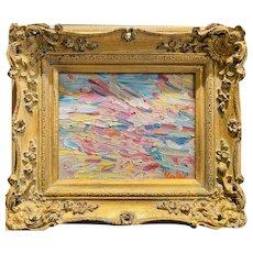 """""""Abstract Impasto Colors II"""", Original Oil Painting by artist Sarah Kadlic, Gilt Leaf 15"""" Ornate Wood Frame"""