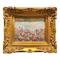 """Abstract Impressionist Wildflowers Landscape "", Original Oil Painting by artist Sarah Kadlic, 15"" Gilt Leaf Wood Frame"