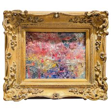 """Abstract Expressionist Impasto Palette"", Original Oil Painting by artist Sarah Kadlic, 15"" x 13"" Gilt Leaf Wood Frame"