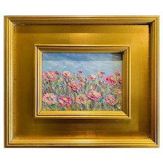 """Abstract Still Life Floral"", Original Oil Painting by artist Sarah Kadlic, Gilt Leaf Frame 12""x14"""