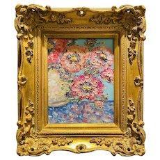 """Abstract Floral Impasto Landscape"", Original Oil Painting by artist Sarah Kadlic, 15"" x 13"" Gilt Leaf Wood Frame"