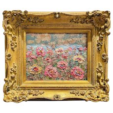 """Abstract Wildflowers Floral"", Original Oil Painting by artist Sarah Kadlic, 13""x15"" Gilt Leaf Framed"