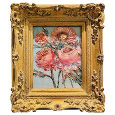 """Abstract Wildflowers Floral "", Original Oil Painting by artist Sarah Kadlic, 13"" by 15"" Gilt Leaf Wood Frame"