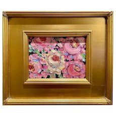 """Abstract Still Life Floral"", Original Oil Painting by artist Sarah Kadlic, Gilt Leaf Frame 13""x15"""