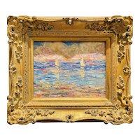 """Abstract Impasto Seascape with Sailboats"", Original Oil Painting by artist Sarah Kadlic, 13x15"" Gilt Leaf Ornate Wood Frame"