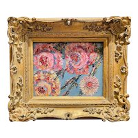 """Abstract Wildflowers Floral "", Original Oil Painting by artist Sarah Kadlic, 15"" x 13"" Gilt Leaf Wood Frame"