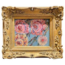 """Abstract Wildflowers Floral "", Original Oil Painting by artist Sarah Kadlic, 15"" x 13"" Gilt Leaf Wood Frame"