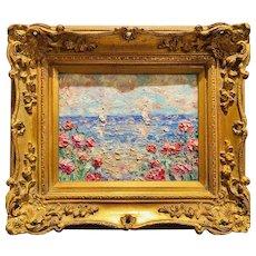 """Abstract Impasto Floral Seascape "", Original Oil Painting by artist Sarah Kadlic, Gilt Leaf Wood Frame 15"" x 13""."