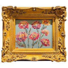 """Abstract Impressionist Wildflowers on Gray Blue"", Original Oil Painting by artist Sarah Kadlic, 15"" Gilt Wood French Frame"