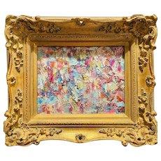 """Abstract Expressionist Impasto Palette"", Original Oil Painting by artist Sarah Kadlic, 15"" Gilt Leaf Wood Frame"