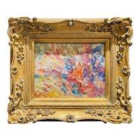 """Abstract Impasto Colors"", Original Oil Painting by artist Sarah Kadlic, 13""x15"" Gilt Leaf Ornate Wood Frame"