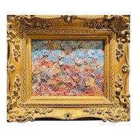 """Abstract Expressionist Impasto Landscape "", Original Oil Painting by artist Sarah Kadlic, 13""x15"" Gilt Frame"