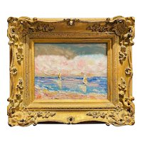 """Abstract Impasto Seascape with Sailboats"", Original Oil Painting by artist Sarah Kadlic, 13x15"" Gilt Leaf Ornate Wood Frame"