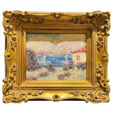 """Impressionist Floral Villa Seascape"", Original Oil Painting by artist Sarah Kadlic, 15"" Gilt Leaf Wood Frame"