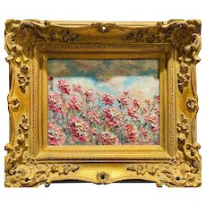 """Abstract Wildflowers Floral?, Original Oil Painting by artist Sarah Kadlic, 15"" x 13"" Gilt Leaf Framed"