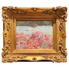 """Abstract Seascape Landscape Cliffs"", Original Oil Painting by artist Sarah Kadlic, Gilt Leaf Ornate Frame 15"""