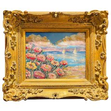 """Abstract Pastel Colors Floral Seascape"", Original Oil Painting by artist Sarah Kadlic, 13""x15"" Gilt Leaf Wood Frame"