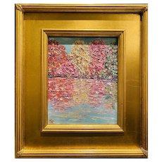"""Abstract Impasto Landscape"", Original Oil Painting by artist Sarah Kadlic, 15"" Gilt Leaf Wood Frame"