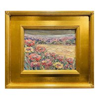 """Abstract Tuscany Flowers"", Original Oil Painting by artist Sarah Kadlic, 13""x15"" Gilt Leaf Wood Frame"