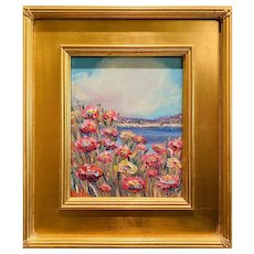 """Abstract Wildflowers Floral Seascape "", Original Oil Painting by artist Sarah Kadlic, Carved Gilt Wood Frame 15"""