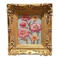 """Wildflower Impressions"", Original Oil Painting by artist Sarah Kadlic, 15x13"" Gilt Leaf Wood Frame"