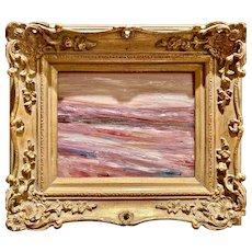 """Abstract Pinks Landscape"", Original Oil Painting by artist Sarah Kadlic, 13""x15"" Gilt Leaf Gold Frame"