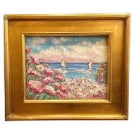 """Pink Floral Beach Seascape"", Original Oil Painting by artist Sarah Kadlic, 11x14 plus Gilt Leaf Gold Frame"