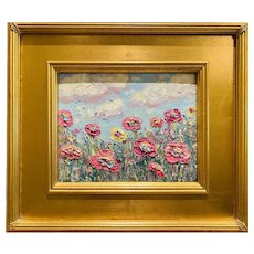 """Abstract Wildflowers Landscape "", Original Oil Painting by artist Sarah Kadlic, 16"" Gilt Leaf Ornate Wood Frame"