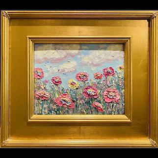 """Abstract Wildflowers Landscape "", Original Oil Painting by artist Sarah Kadlic, 16"" Gilt Leaf Ornate Wood Frame"