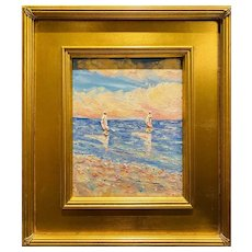 """Abstract Seascape Impasto Sailboats"", Original Oil Painting by artist Sarah Kadlic, Gilt Leaf Wood Frame 16""x14"""