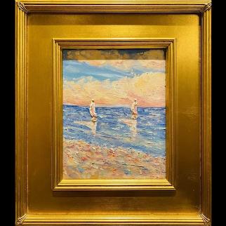 """Abstract Seascape Impasto Sailboats"", Original Oil Painting by artist Sarah Kadlic, Gilt Leaf Wood Frame 16""x14"""