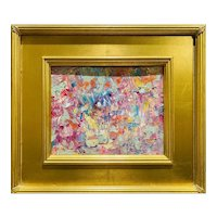 """Abstract Expressionist Impasto Palette"", Original Oil Painting by artist Sarah Kadlic, 16"" Gilt Leaf Wood Frame"