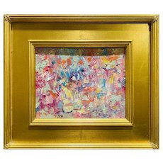 """Abstract Expressionist Impasto Palette"", Original Oil Painting by artist Sarah Kadlic, 16"" Gilt Leaf Wood Frame"