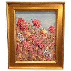 """Abstract Garden Wildflowers"", Original Oil Painting by artist Sarah Kadlic, 16""x20"" Gilt Wood Frame"
