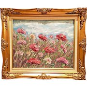 """Impressionist Field of Wild Flowers"", Original Oil Painting by artist Sarah Kadlic, 20x24"" Gold Gilt Wood Frame"