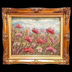 """Impressionist Field of Wild Flowers"", Original Oil Painting by artist Sarah Kadlic, 20x24"" Gold Gilt Wood Frame"