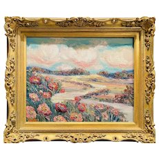 """Impressionist Country Poppies Landscape "", Original Oil Painting by artist Sarah Kadlic, 16""x20"" Gilt Leaf Wood Frame"