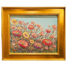 """Impressionist Abstract Wildflowers Landscape "", Original Oil Painting by artist Sarah Kadlic, 16x20"" Gilt Leaf Wood Frame"