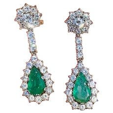 Impressive Vintage Estate 18k Gold 8.00ctw Emerald Diamond Halo Pendant Dangle Drop Earrings