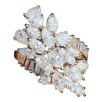 Impressive Vintage 1950s 18k Gold 2.50ct Marquise Pear Baguette Diamond Cluster Ring