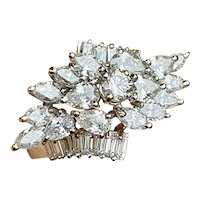Stunning Art Deco 18k Gold 2.75ct Marquise Pear Cluster VS Diamond Cluster Cocktail Ring