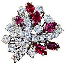 Striking 18k Gold Vintage Retro Burmese Ruby Marquise Diamond Cluster Ring