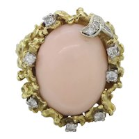 Impressive 1970's Vintage Estate 18k Yellow Gold Angel Skin Coral Diamond Ring