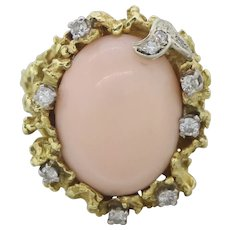 Impressive 1970's Vintage Estate 18k Yellow Gold Angel Skin Coral Diamond Ring