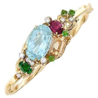 Impressive Peter Lindeman 18k Gold Aquamarine Topaz Rubellite Diamond Bangle Bracelet