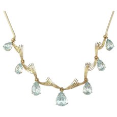 Impressive Art Deco 1940s Retro 18k Gold 25ct Aquamarine Pendant Drop Necklace