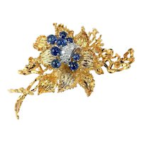 Vintage Retro 1960's / 1970's Midcentury 18k Gold Blue Sapphire VS Diamond Brooch