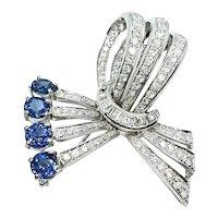 Stunning Vintage Estate 18k Gold 4.85 ct Blue Sapphire Diamond Brooch Pendant Pin