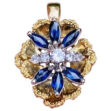 Vintage Estate 18k Gold 1.63ct Diamond Blue Sapphire Butterfly Pendant