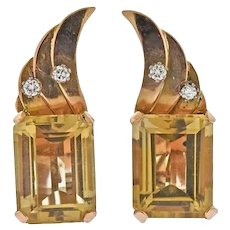 Vintage 1950s Retro Estate 18k Gold Citrine Diamond Gemstone Earrings